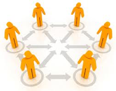 illustration of peers exchanging information. yellow stick figures
