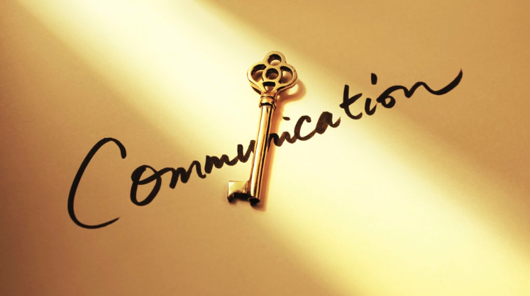 picture of an old fashioned key on the word communication