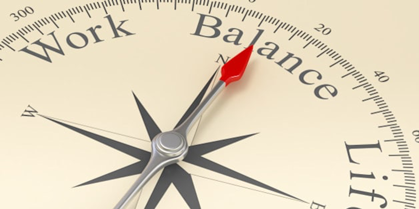 picture of a compass which points to work life balance